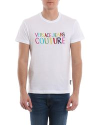 Versace Jeans Couture Logo Lettering Embroidery T-shirt - White