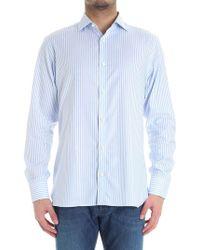 Z Zegna - Light Blue And White Striped Stick Shirt - Lyst