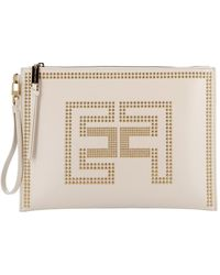 Elisabetta Franchi Synthetic Leather Clutch Bag - Natural