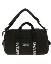 Versace Jeans Couture Rubber Logo Tag Duffle Bag In Black