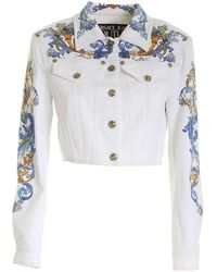 Versace Jeans Couture Cameo Print Crop Jacket - White