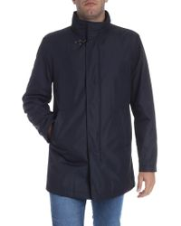 Fay Blue Technical Fabric Coat