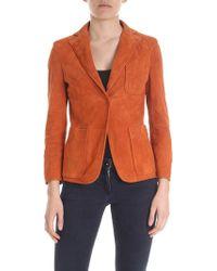 L'Autre Chose - Suede Jacket In Brick Red - Lyst