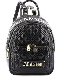 Love Moschino Quilted Backpack With Logo - Black