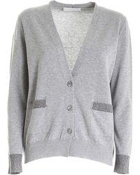 Fabiana Filippi Embellished-pockets Cardigan - Grey