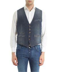 Eleventy - Denim Waistcoat With Dark Grey Back - Lyst
