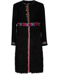 Bazar Deluxe Wool And Faux Fur Coat - Black