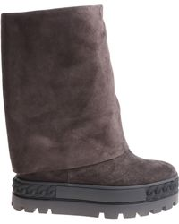 Casadei - Grey Reindeer Leather Boots - Lyst