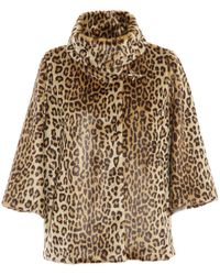 Fay Leopard Patterned Cape - Brown