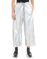 MM6 by Maison Martin Margiela - Metallic Silver Trousers - Lyst