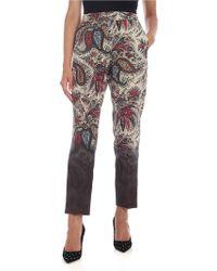 Etro - Pantalone Beige Con Stampa A Contrasto - Lyst