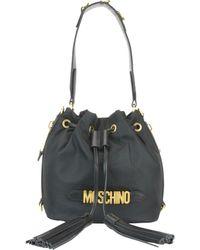Moschino Logo Lettering Nylon Bucket Bag - Black