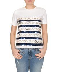 Elisabetta Franchi T-shirt In White With Blue And Gold Sequins