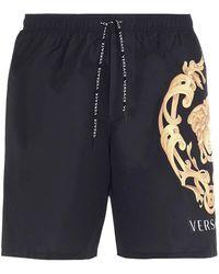 Versace Shorts Da Bagno Neri Con Logo Medusa - Nero