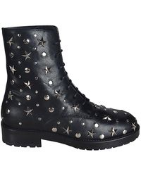 RED Valentino Combat Boots With Star Studs - Black