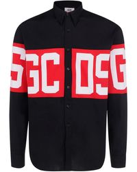 Gcds Cotton Poplin Branded Shirt - Black