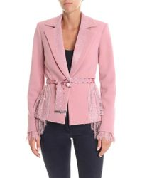 Blumarine - Pink Flared Jacket With Lace Inserts - Lyst