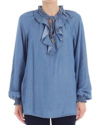 Michael Kors - Denim-colored Blouse With Ruffles - Lyst