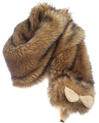 Moschino Faux Fur Stole - Natural