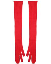 Maison Margiela - Ribbed Red Gloves - Lyst