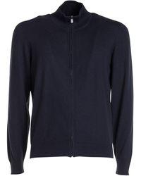 Corneliani Cotton-cashmere Blend Cardigan - Blue