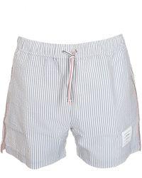Thom Browne Striped Swim Short - Grey