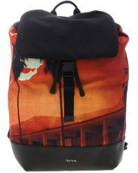 Paul Smith Black Backpack With Paul's Photo Print - Orange