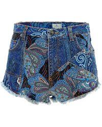 Etro Paisley Patterned Shorts - Blue