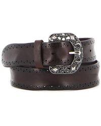 Orciani Embellished Buckle Leather Belt - Brown