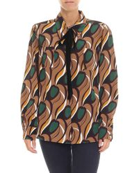 Rochas - Nicolet Brown Shirt With Multicolour Prints - Lyst