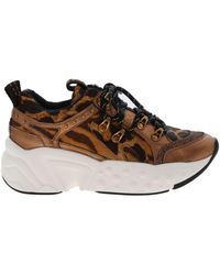 DKNY Avi Brown Trainers With Animal Pattern