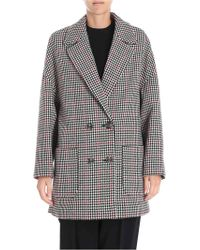 RED Valentino - Houndstooth Double-breasted Wool Coat - Lyst