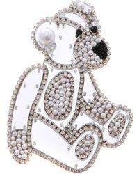 Vivetta Teddy Bear Brooch In Rhinestones And Beads - Multicolour