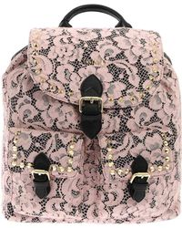 Twin Set - Black And Pink Lace Backpack - Lyst