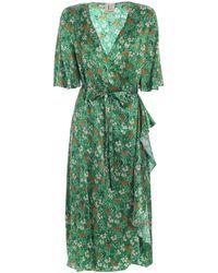 L'Autre Chose Floral Silk Wrap Dress - Green