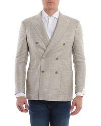 Luigi Bianchi Mantova Wool Blend Blazer With Patch Pockets - Natural