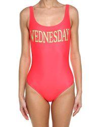 Alberta Ferretti - Orange Lycra Wednesday Swimsuit - Lyst