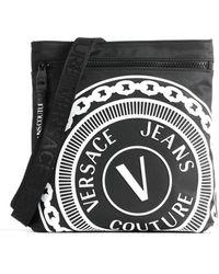 Versace Logo Printed Handbag - Black