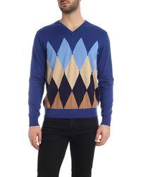 Ballantyne Diamond Intarsia Pullover - Blue