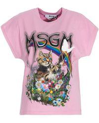 MSGM Cat Print Cotton T-shirt - Pink