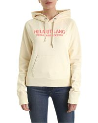 Helmut Lang Sand Logo Hooded Cotton Sweatshirt - Natural