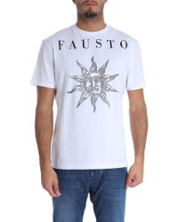 Fausto Puglisi - T-shirt bianca stampa sole - Lyst