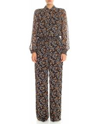 Michael Kors - Black And White Floral Printed Jumpsuit - Lyst