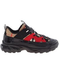 Burberry Black And Red Mini Arthur Sneakers