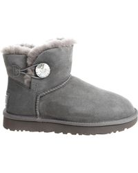 """UGG - """"mini Bailey Button Bling"""" Grey Ankle Boots - Lyst"""