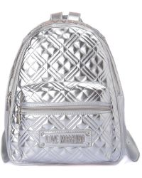 Love Moschino Quilted Faux Leather Backpack - Metallic