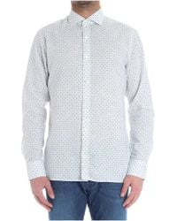 Z Zegna - White Shirt With Blue Pattern - Lyst