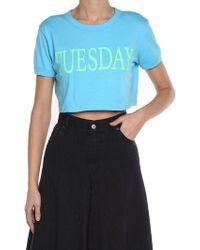 Alberta Ferretti - Light Blue Tuesday Crop T-shirt - Lyst