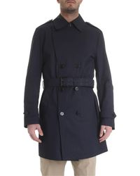 Fay Blue Double-breasted Trench Coat