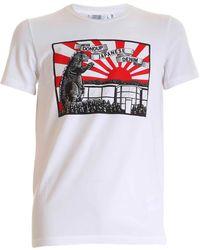 Dondup - T-Shirt Bianca Con Stampa Logo Dinosauro - Lyst